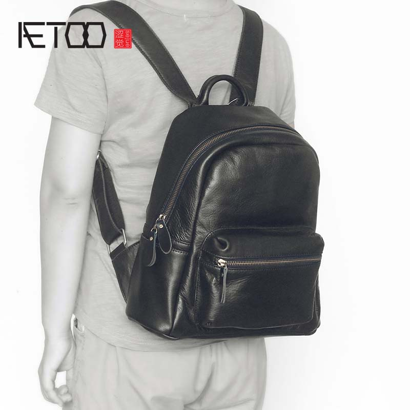 AETOO 2018 new leather female bag top layer leather ladies shoulder bag Korean fashion backpack female aetoo new leather diagonal female bag korean fashion tassel lady bag leather shoulder messenger bag