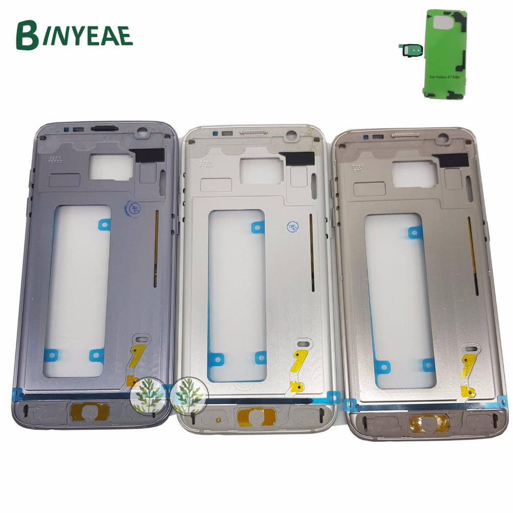 BINYEAE Original Mid Bezel Housing Chassis Metal Frame+Adhesive For Samsung Galaxy S7 Edge G935 G935A G935P G935F G935FD