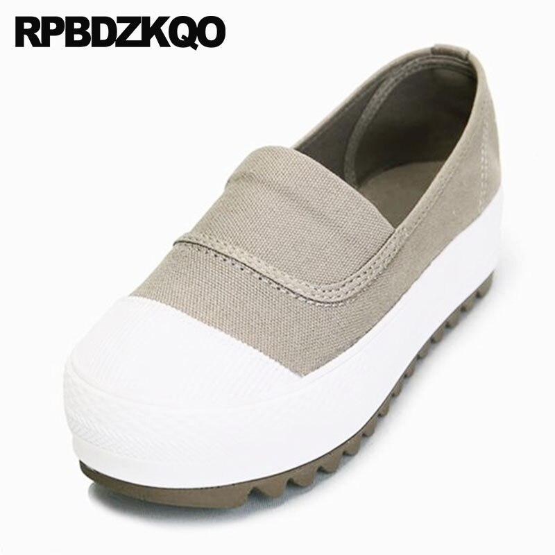 363f8468a13f09 blanc Chaussures Sur forme noir Printemps Chine Bout Plate Automne  Ascenseur Semelle Épaisse gris Rétro Dames ...