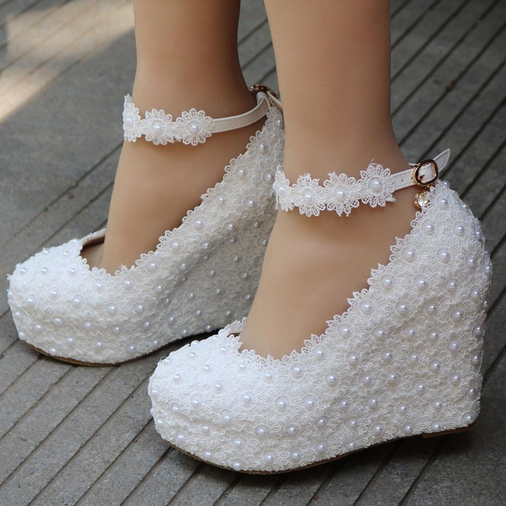 Shoes Wedding-Wedges-Shoes Lace High-Heels Buckle-Strap Flower Platform Floral Basic