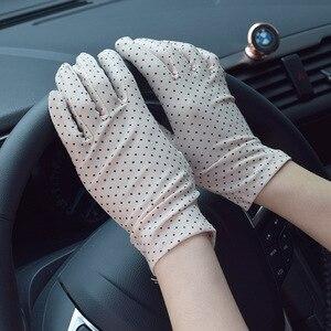 1Pair Dots Women Sunscreen Gloves Summer Spring Spandex Gloves Anti-UV Short Driving Glove High Elastic Thin Etiquette Glove