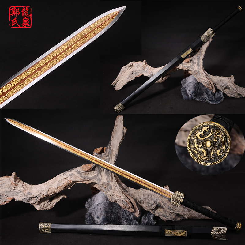 Real Chinese Sword 1060 Steel Blade Gold Plating Engraved Pattern Metal Craft Home Decoration Rose Wood-Double Handed SwordReal Chinese Sword 1060 Steel Blade Gold Plating Engraved Pattern Metal Craft Home Decoration Rose Wood-Double Handed Sword
