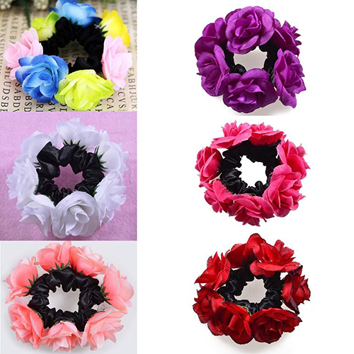 Women's Fashion Luxury Floral Flower Bun Hairband Garland Bridal Scrunchie Band New Arrival