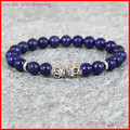 1pc 8mm nature stone beads skull charming bracelet lapis lazuli stone ball skull bracelet