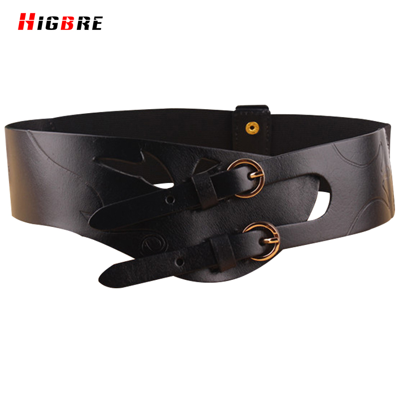 Female Genuine Leather Double Pin Buckle Wide Belt Cummerbunds Women Elastic High Quality Strap Belts For Dress Decoration