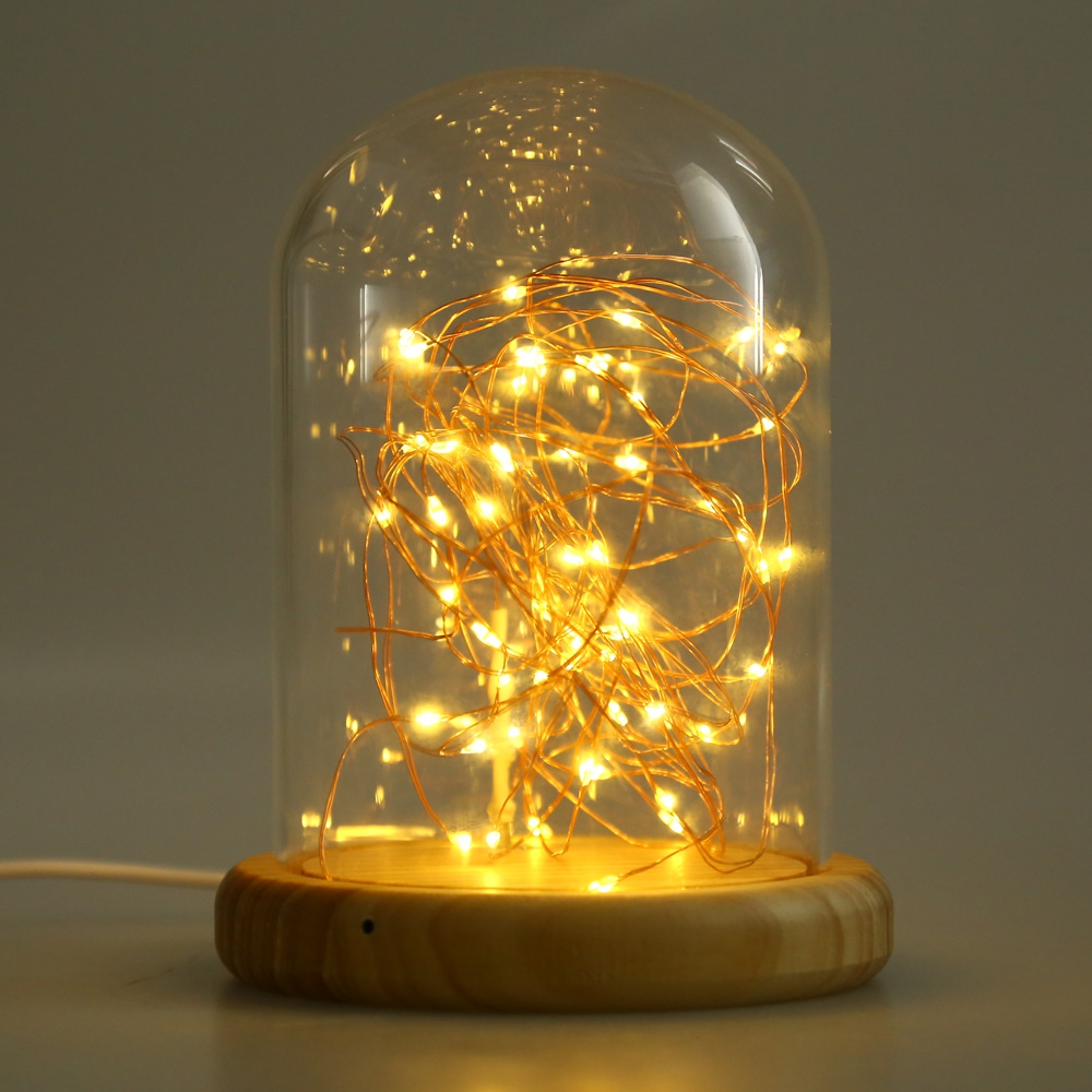 Firework Decoreation Light Glass Cover Table Usb Led Night Light Wood Base Bedside Night Lamp