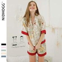Шорты с короткими рукавами, пижамы для женщин, комплект из двух предметов, летние атласные пижамы, пижамы с принтом из вискозы, домашняя одежда, Прямая поставка