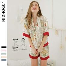 Calções de manga curta pijamas para mulher duas peças conjunto verão cetim pijamas viscose impressão pijamas casa roupas dropshipping