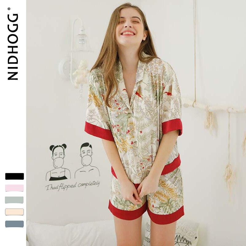 Summer Fresh Grass Printing Womens Sleepwear Short Sleeve Shorts 2-piece   Pajama     Set   Loungewear Turn-down Collar Satin   Pajamas
