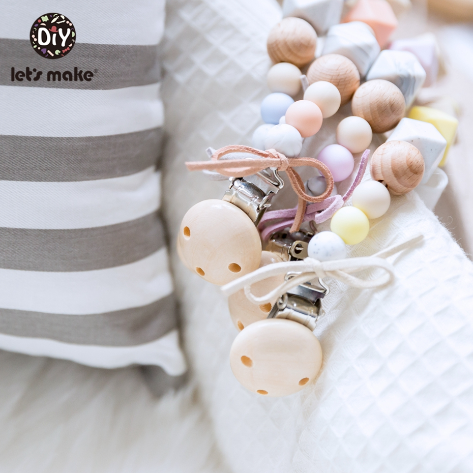 Let'S Make Holder For Nipples Bowtie Leather Rope Silicone Hexagon Beads Baby Wooden Teether Wood Pacifier Clip Chain