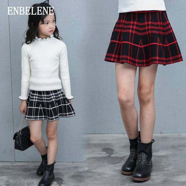 e36f684431 2017 autumn girls pleated mini skirt for children red black cotton big kids  plaid micro knitted full skirts for schoolgirl FH277