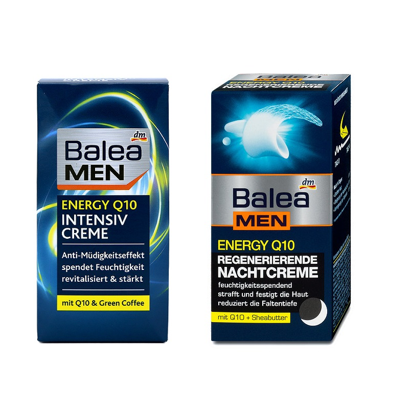 Balea Men Energy Q10 Green Coffee Intensive Day Face Cream+Regenerating Night Cream for Tired men's skin Improve Skin elasticity тональный крем the saem porcelain skin bb cream spf30 ра 02