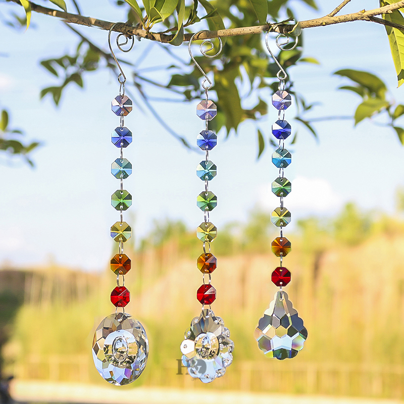 H&D Glass Crystal Oval Prism Rainbow Maker Chakra Hanging Suncatcher Window Sun Cacther With Ocatgon Beads For Gift,Pack Of 3