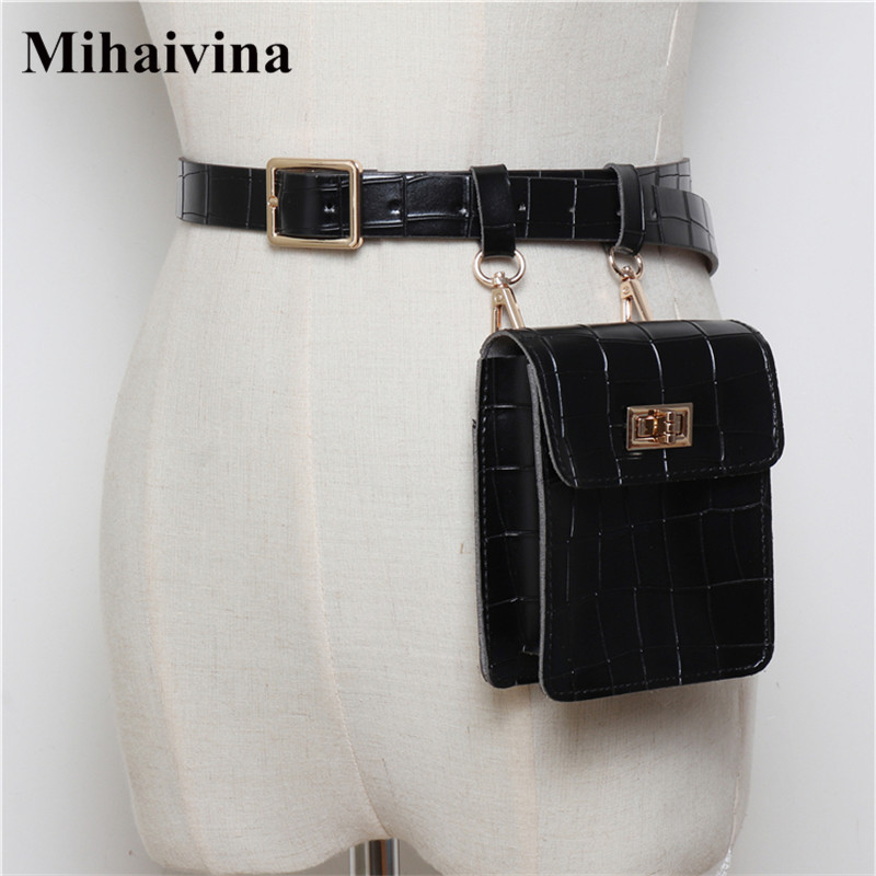 Mihaivina Vintage Leather Waist Bag Alligator Fanny Pack For Women Waist Pack Luxury Belt Bag Designer/Black Fanny Pack Bags