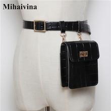 Mihaivina Vintage Leather Waist Bag Alligator Fanny Pack For Women Luxury Belt Designer/Black Bags