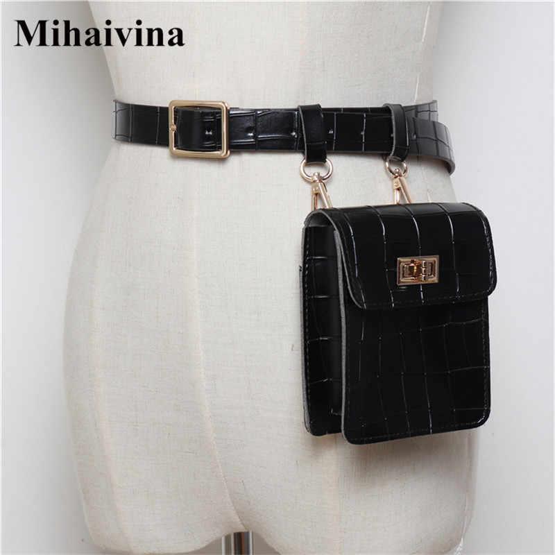 fedbf7cb7dc Mihaivina Vintage Leather Waist Bag Alligator Fanny Pack For Women ...