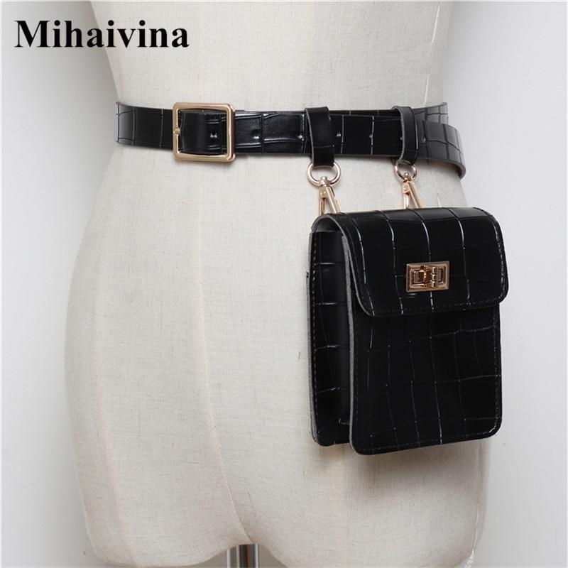 Mihaivina Vintage Leather Waist Bag Alligator Fanny Packs For Women Waist Pack Travel Women Bags On The Belt Casual Shoulder Bag