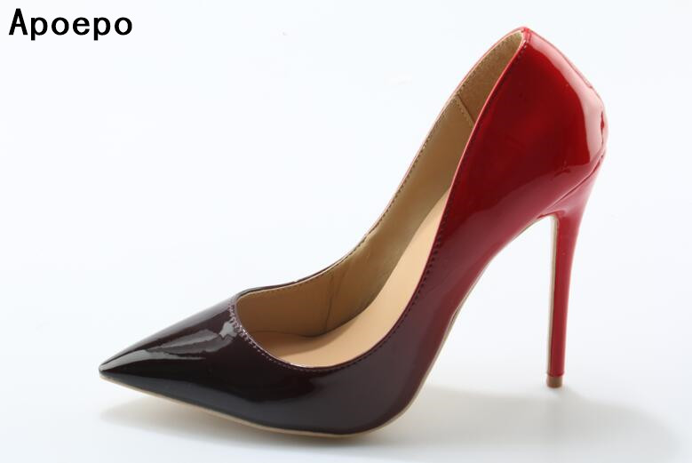 New women wine red high heel sexy pumps slip on shoes fashion party pointed toe shoes wedding bride shoes 10 cm 12 cm heels new women s high heels pumps sexy bride party thick heel round toe genuine leather high heel shoes for office lady women t8802