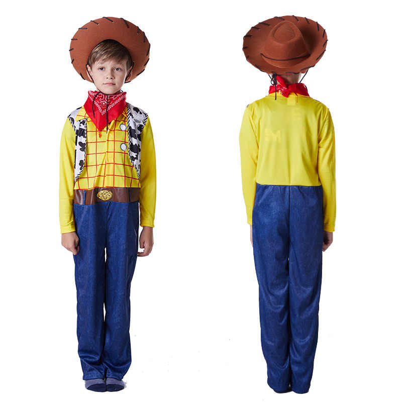b4707ff98 Toy Story Sherif Woody Cosplay Costume Cowboy Suit Hat Carnival Adult kids  Boy Jumpsuits Halloween Party