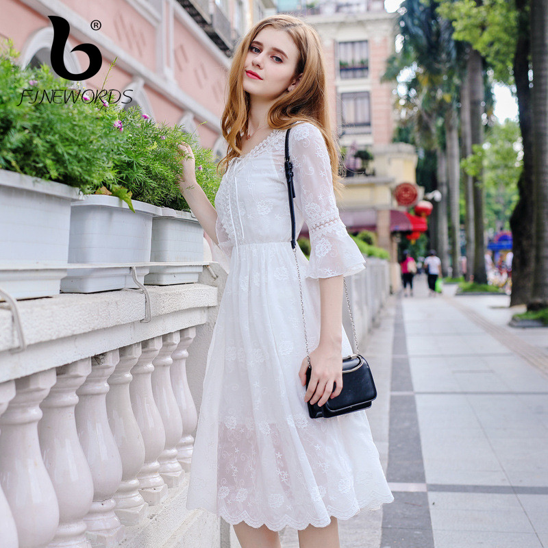 148d6d606b9 FINEWORDS 2018 New Summer Beach Vestidos Sweet Harajuku Embroidery White  Chiffon Dress Women Korean Elegant Dating Party Dresses