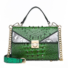 Hot Sale! Luxury Lady Handbag Crocodile Pattern Designer Famous Brand Alligator Leather Shoulder Messenger Bags Chains Bolsa Red brand casual pu small alligator crocodile chains ladies women clutch famous designer shoulder messenger crossbody bags for lady