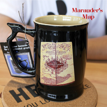 Harry Potter Animation Creativity Drinking Cup Coffee Mug Live Map Coffee Cup 600ml Large Capacity Black Classic Boyfriend Gift harry potter mug marauders map