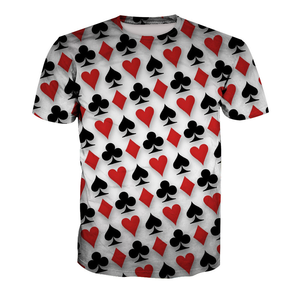 Novelty Poker Print t-shirt Fitness Plus Size Men Tee Tops Playing Card Fashion Harajuku Mens T Shirts Summer Hot Sale Clothing 건달 조폭 옷