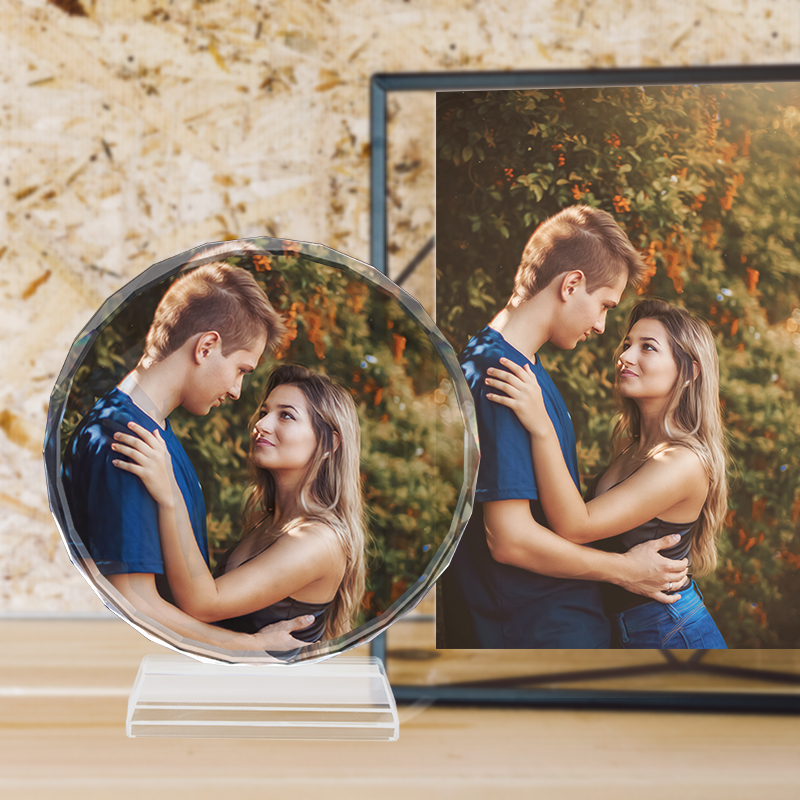 Customized Round Shape Crystal Glass Photo Frame Personalized Picture Frame Photo Album For Birthday Friends Gifts Home Decor image