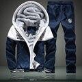 Winter Thick Inner Wool Hoodie Men Hat Casual Suit Men Zipper Suits For Men Outwear + Pants Plus Size 4XL PA11
