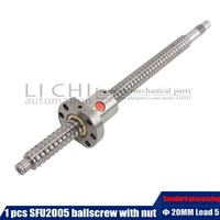 1set SFU2005 length 650mm to 1500mm rolled ballscrew C7 with 2005 flange single ball nut end machined for BK/BF15