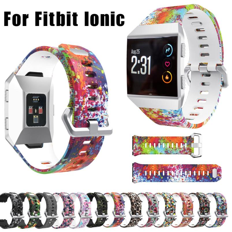 US $2 08 27% OFF|2018 Best Sale Sport Fashion Pattern Silicone Strap Wrist  Band Replacement For Fitbit Ionic fitness tracker activity tracker-in Smart
