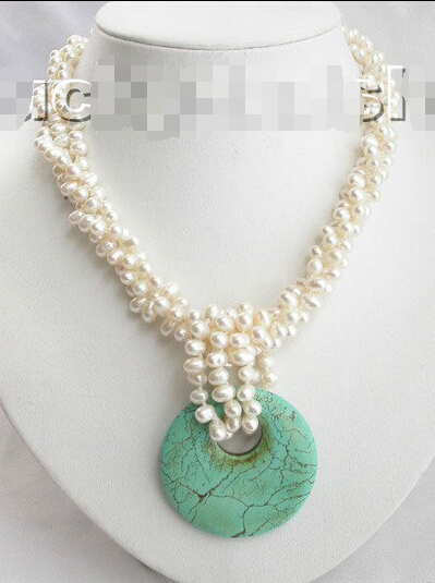 Gratuite naturel blanc perles turuqoise collier pendentif