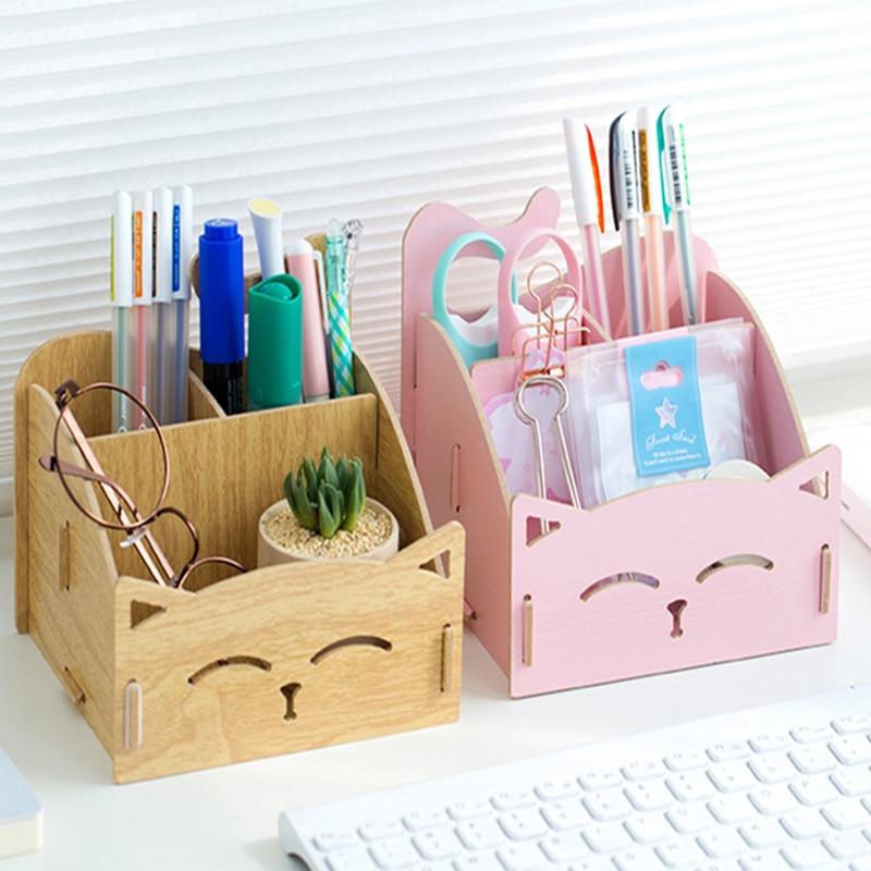 Creative Large Storage Cat Pen Holder Office Accessories Desktop Pencil Case Organizer Three Space Cartoon Wooden Pencil Stand