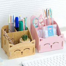 Creative Large Storage Cat Pen Holder Office accessories desktop Pencil Case Organizer three space Cartoon Wooden Pencil Stand(China)