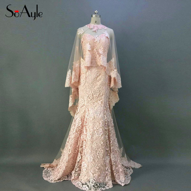 SoAyle Real Picture Vestidos de festa Mermaid Lace Evening Dresses 2017  Shawl Jacket Lace Applique Long Prom Gowns for Party 9ea5489eed64