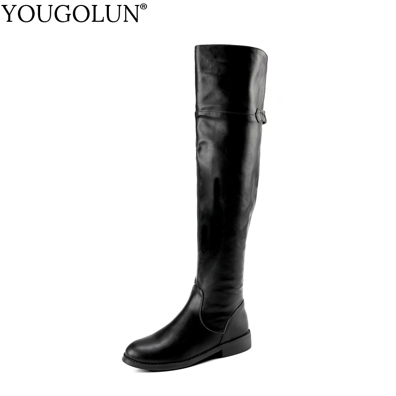 YOUGOLUN Women Thigh High Boots New Autumn Winter Fashion Ladies PU Zip Buckle Shoes Woman Over The Keen Low Square Heels #B007