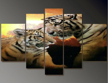 High Quality/FreeShipping/Hand-painted Animals tiger Group Oil Painting on Canvas Art home