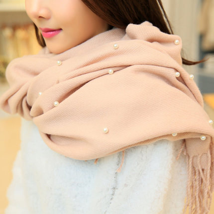 High quality Korean pearl thick winter scarf women ladies shawl cashmere fringed scarf plaid scarf square scarf shawl