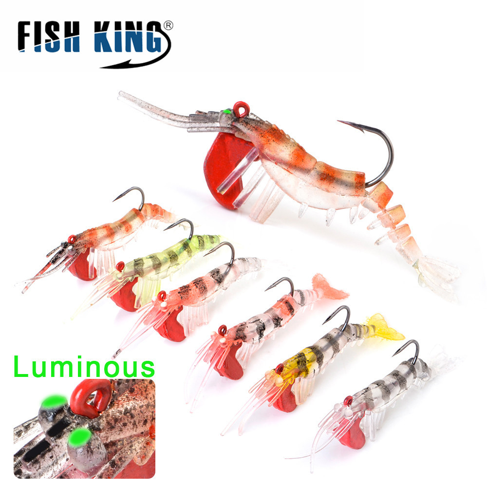 1x Shrimp Fishing Lures Artificial Fish Baits 7g//13g//19g Saltwater Tackle New