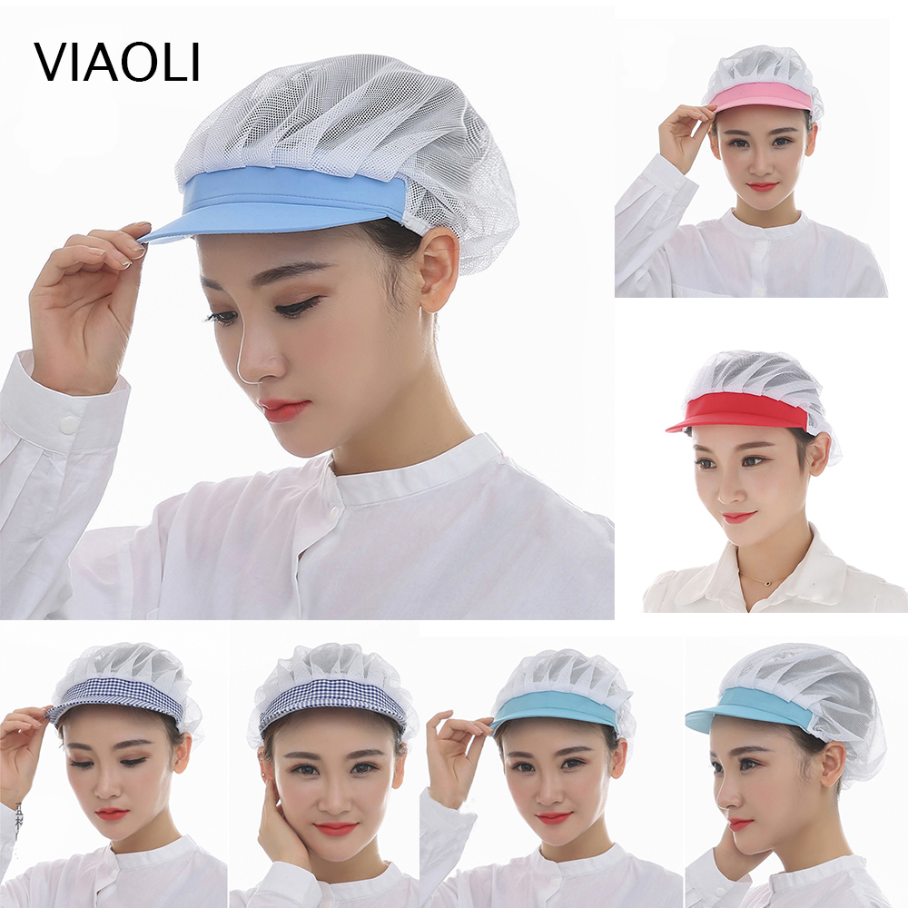 2019 New Net Hat Chef Hat Kitchen Health Work Hats Canteen Restaurant Food Service Bakery Baking Female Women Breathable Cap Hat