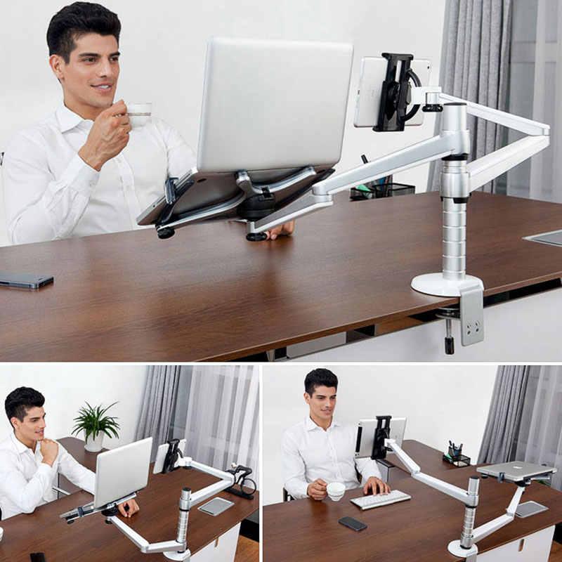 Universele Rotatie Aluminium Notebook Laptop Stand Houder Voor 10-15 inch Laptop + 9-10 inch Tablet mount Houder Stands Lapdesk