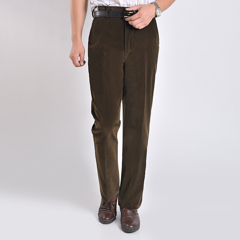 Corduroy Trousers Men Coffee Color Long Pants Spring Smart Casual Straight Business Pants Autumn Mirco Velvet Male Trouser