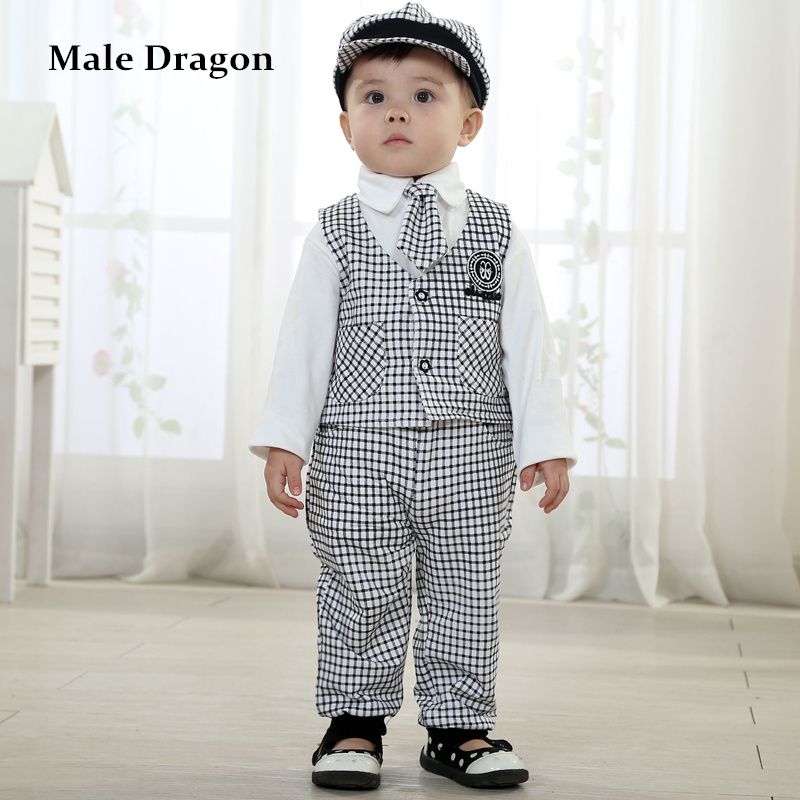Boys Clothing 3  4 Years Gentleman Set Spring Kids Clothes Long Sleeve Plaid Suit Set Tie Kids Cap Sets England Style 5 Pieces
