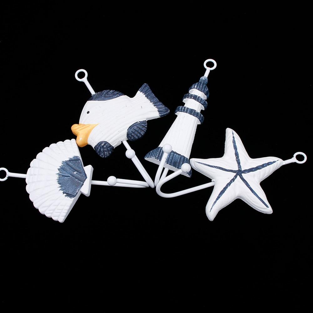 1 piece Sea Sailing Boat Starfish Beacon Home Decor Bathroom Wall Hanger Hook Wood+Metal