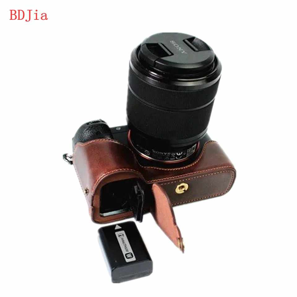 NEW ! Fashional Camera Bag Case For Sony A7 A7R A7S PU Leather Half Body Set Cover With Battery Opening, Free Shipping
