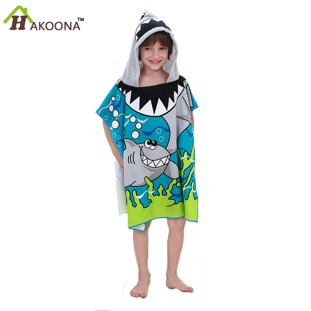 HAKOONA Boys Shark Hooded Towel Microfiber Beach Swimming Beach