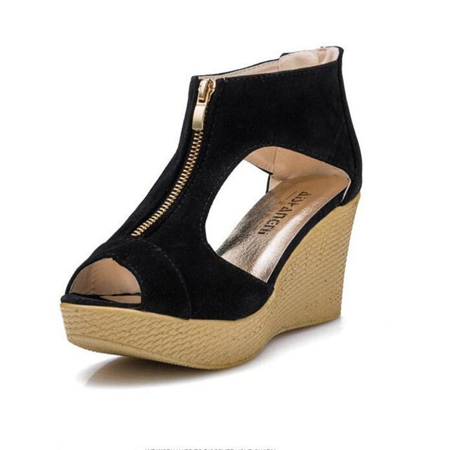 Korean Version Of The 2015 high-heeled Zipper Female Sandals Wedge With loose-bottomed Shoes Thick Bottom Hollow  .LD-588