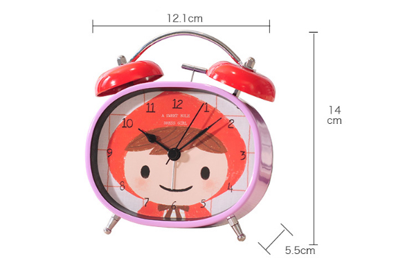 Cute Cartoon Metal Alarm Clock Home Bedroom Bedside Table Clock Creative Student Desktop Clock Decorations Ornaments Watches