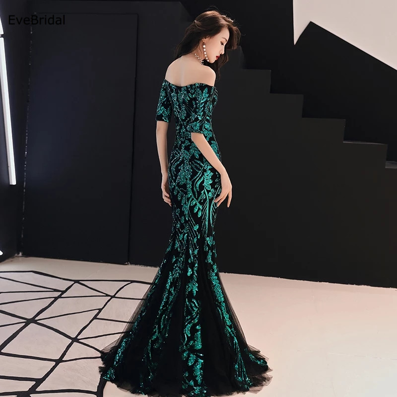 Sparkle Sequined Mermaid Boat Neck Evening Dresses Formal Dresses Half Sleeve Floor Length Pageant Runway Show Dress in Evening Dresses from Weddings Events