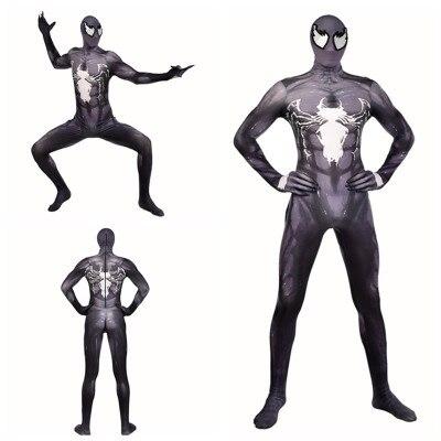 Venom Cosplay Costume Cool Movie Spider-Man Superhero Jumpsuits Kids Adult Suits